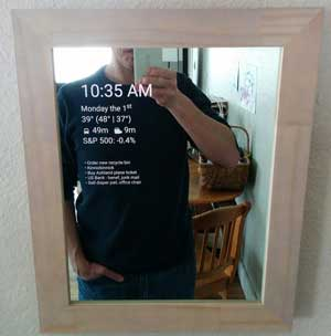 Small wood frame smart mirror